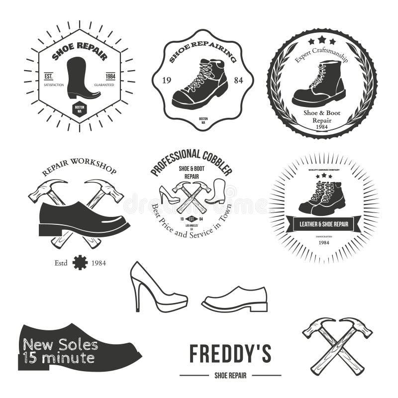Reeks uitstekende embleem, kenteken, embleem of logotype elementen voor schoenmaker vector illustratie