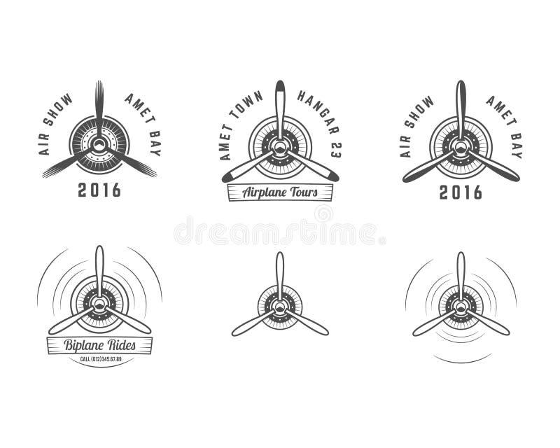 Reeks Uitstekende emblemen van de vliegtuigpropeller Tweedekkeretiketten Retro Vliegtuigkentekens, ontwerpelementen Luchtvaartzeg vector illustratie