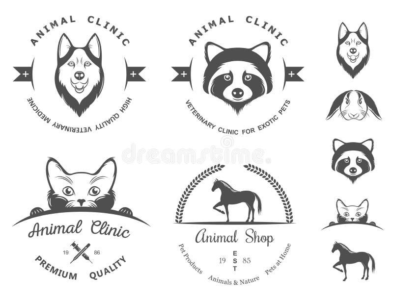 Reeks Uitstekende Emblemen voor Dierenartskliniek royalty-vrije illustratie