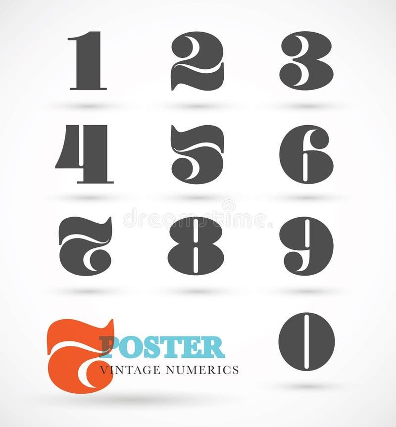 Reeks uitstekende en retro numerieke doopvontaantallen voor abstract art. royalty-vrije illustratie