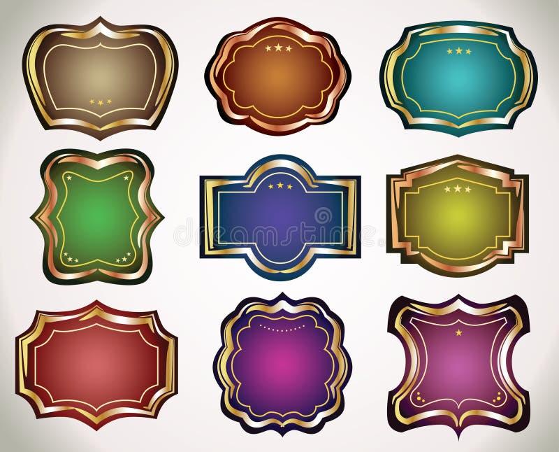 Reeks uitstekende etiketten en stickers aan giften. royalty-vrije illustratie