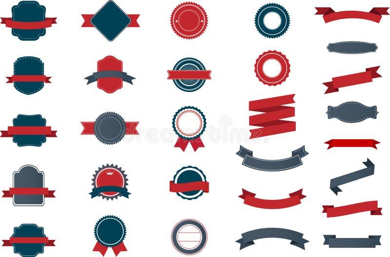 Reeks uitstekende Etiketten, Linten, Sticker en Kentekens vector illustratie