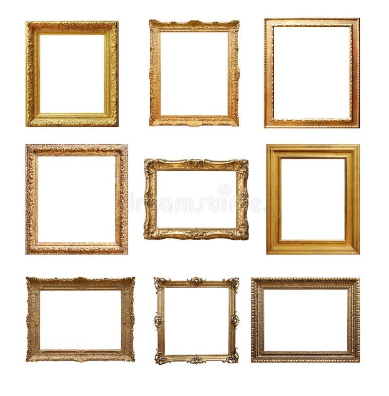 Reeks Uitstekende frames die op wit worden geïsoleerd stock afbeeldingen