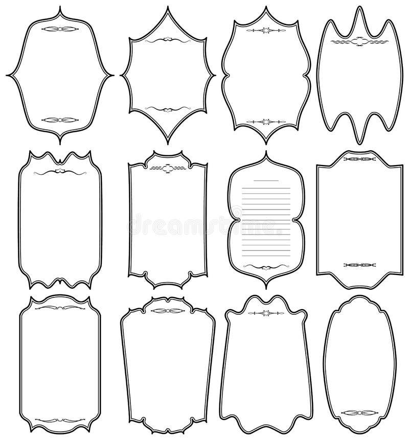 Reeks uitstekende frames Verticale zwarte vignetten op witte achtergrond royalty-vrije illustratie