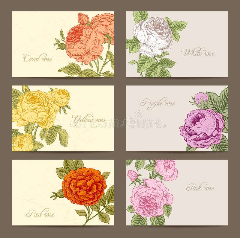 Reeks uitstekende horizontale adreskaartjes stock illustratie