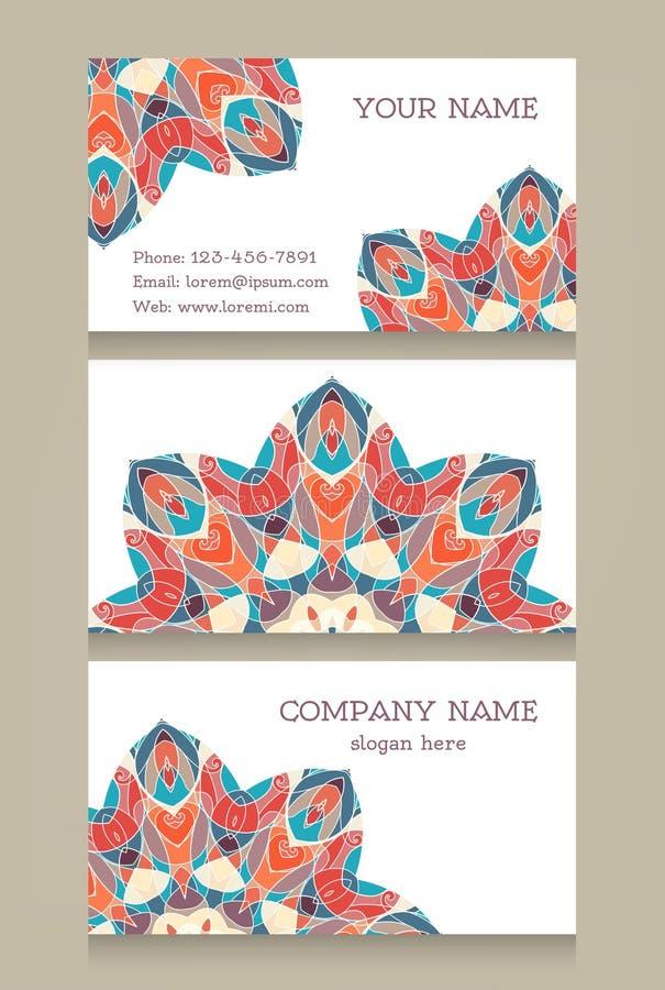 Reeks uitstekende kaarten in de stijl van het oosten royalty-vrije illustratie