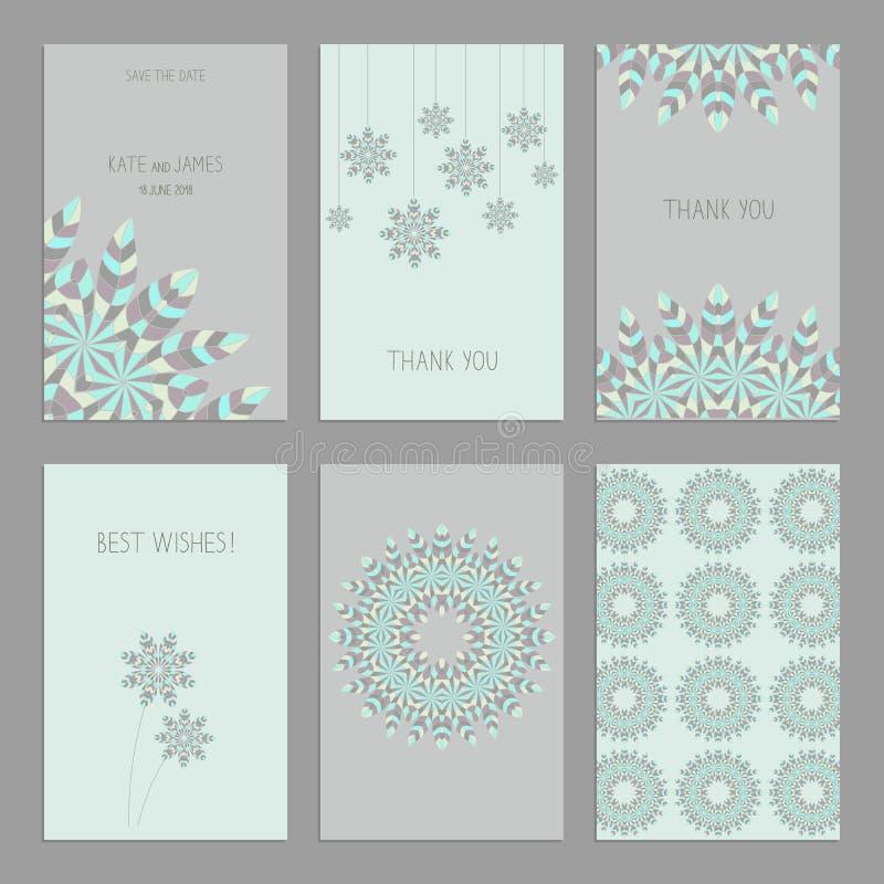 Reeks uitstekende kaartenmalplaatjes in etnische stijl stock illustratie