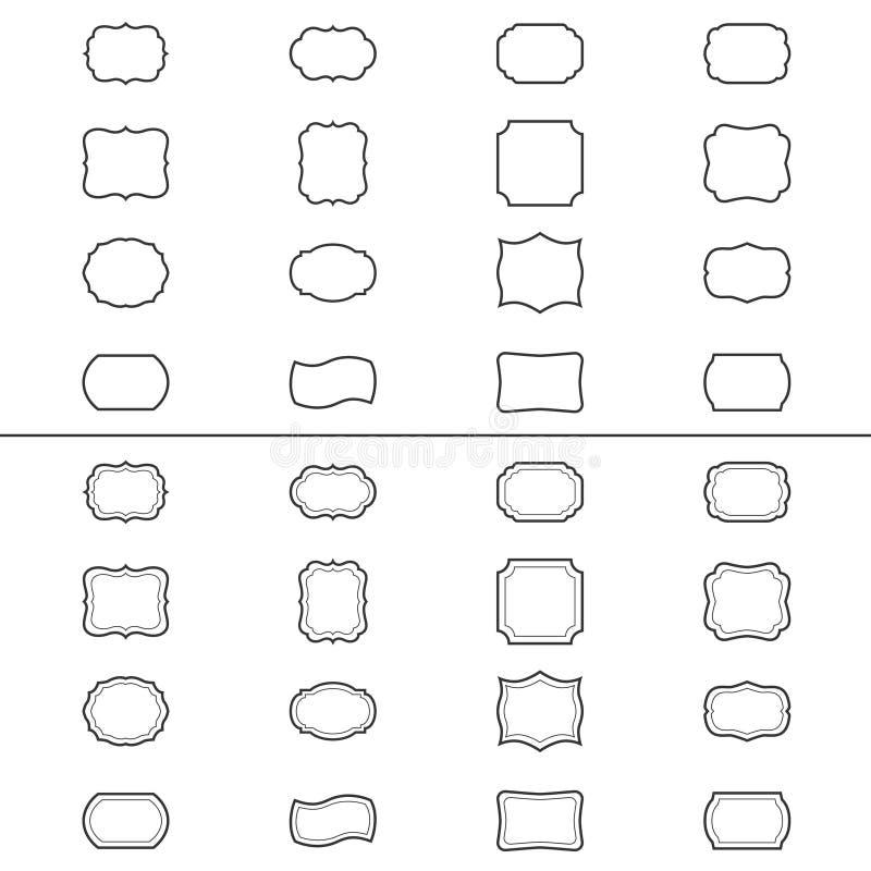 Reeks uitstekende kaders, illustratie vector illustratie
