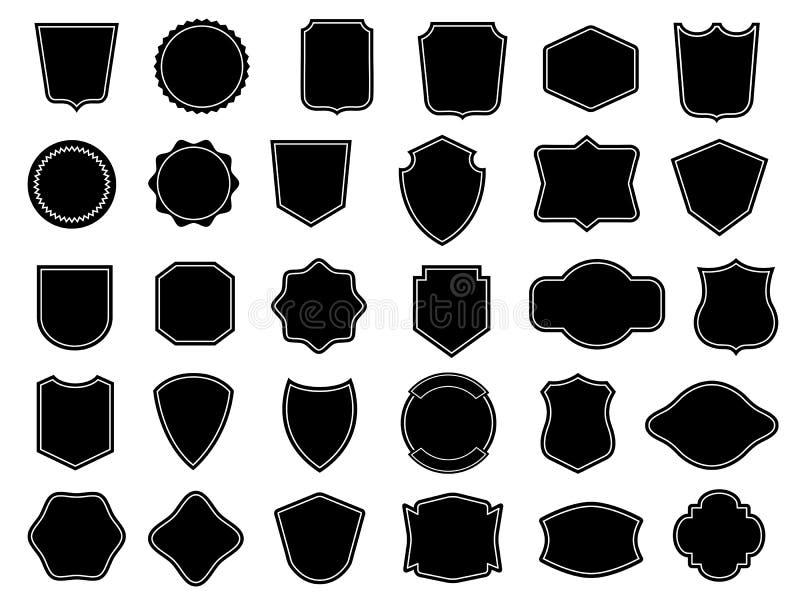 Reeks uitstekende kaders voor kentekens, etiket, embleem vector illustratie