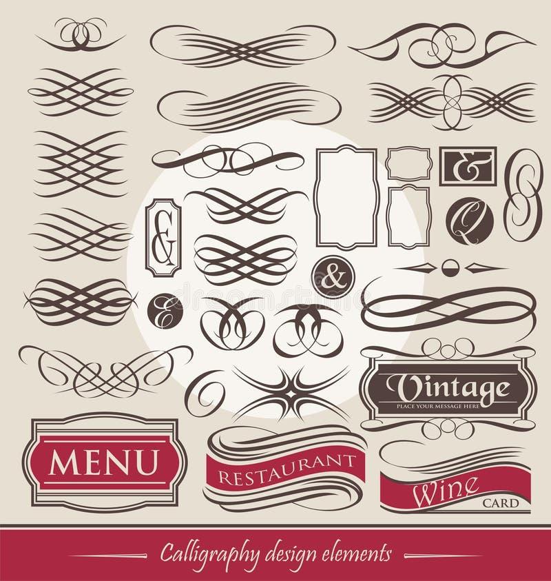 Reeks uitstekende kalligrafische ontwerpelementen royalty-vrije illustratie