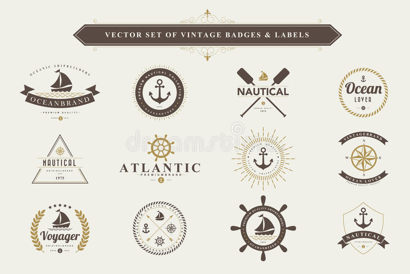 Reeks uitstekende kentekens en etiketten stock illustratie