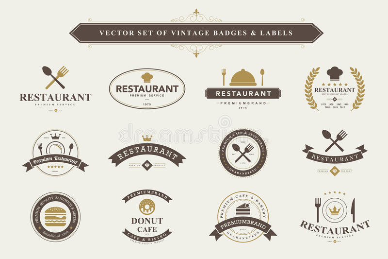 Reeks uitstekende kentekens en etiketten royalty-vrije illustratie