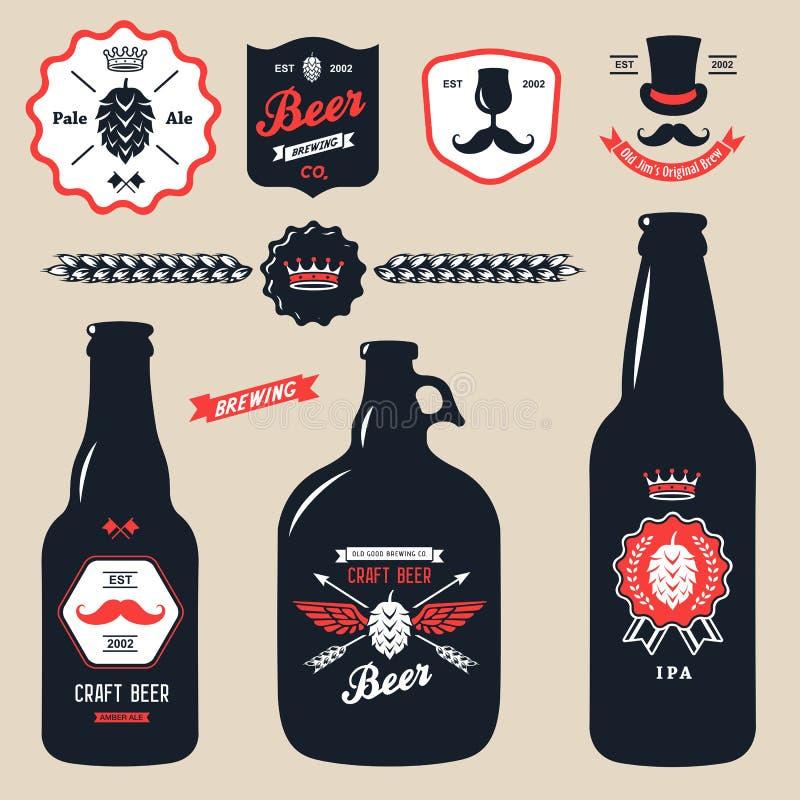 Reeks uitstekende kentekens van de de flessenbrouwerij van het ambachtbier royalty-vrije illustratie