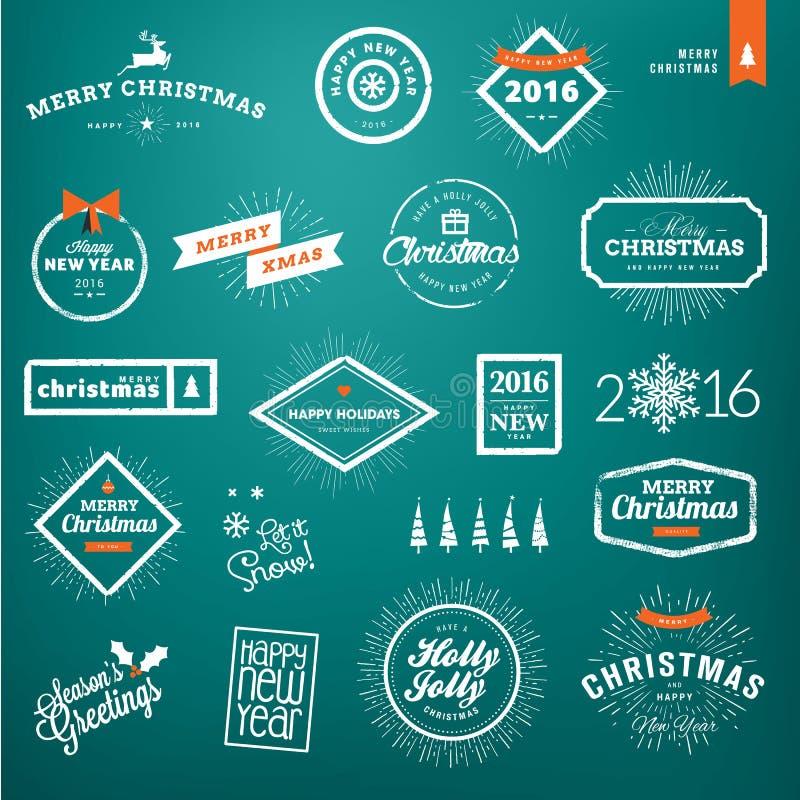 Reeks uitstekende Kerstmis en de etiketten en kentekens van het Nieuwjaar royalty-vrije illustratie