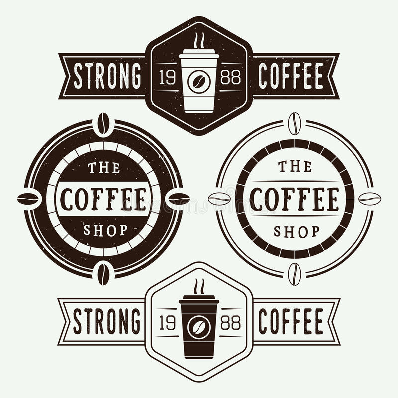 Reeks uitstekende koffieemblemen, etiketten en emblemen vector illustratie