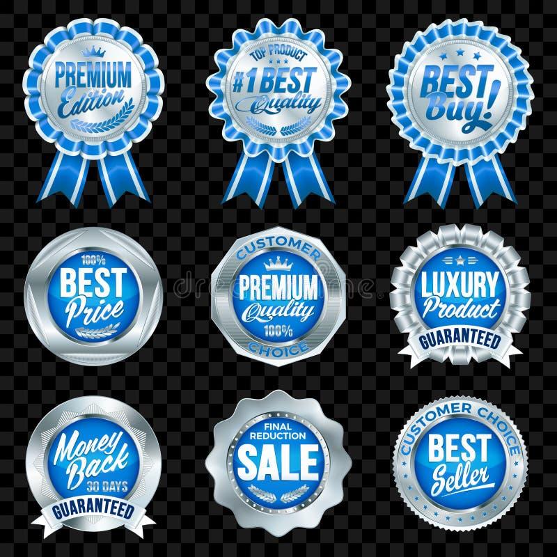 Reeks uitstekende kwaliteits blauwe kentekens met zilveren grens royalty-vrije illustratie