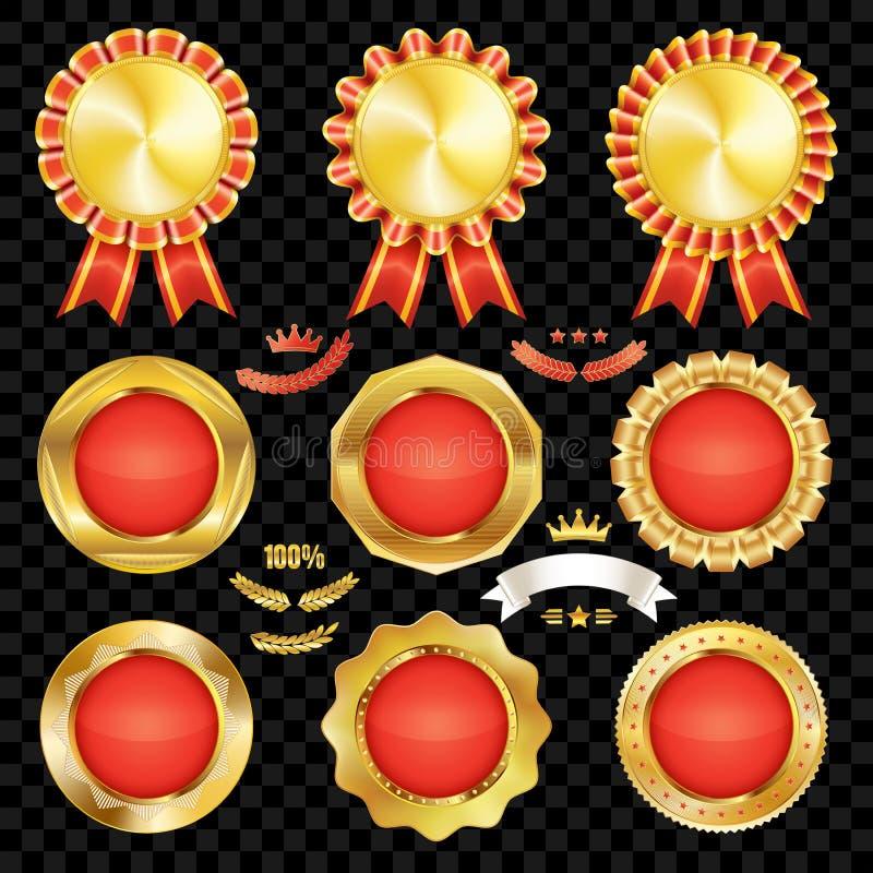 Reeks uitstekende kwaliteits rode lege kentekens met gouden grens royalty-vrije illustratie