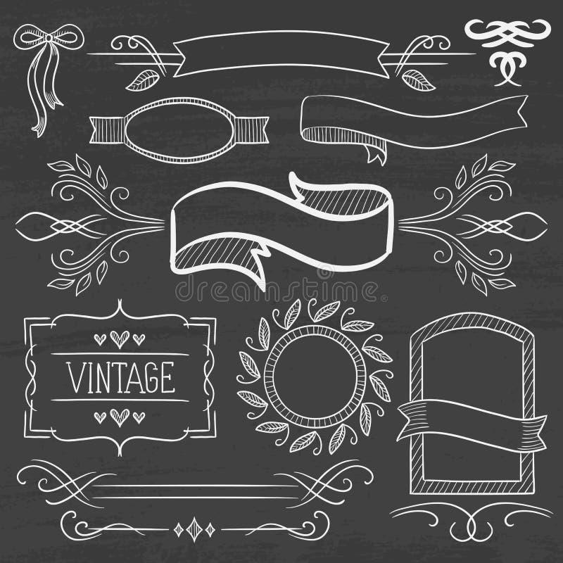 Reeks uitstekende linten, kaders op een bord stock illustratie