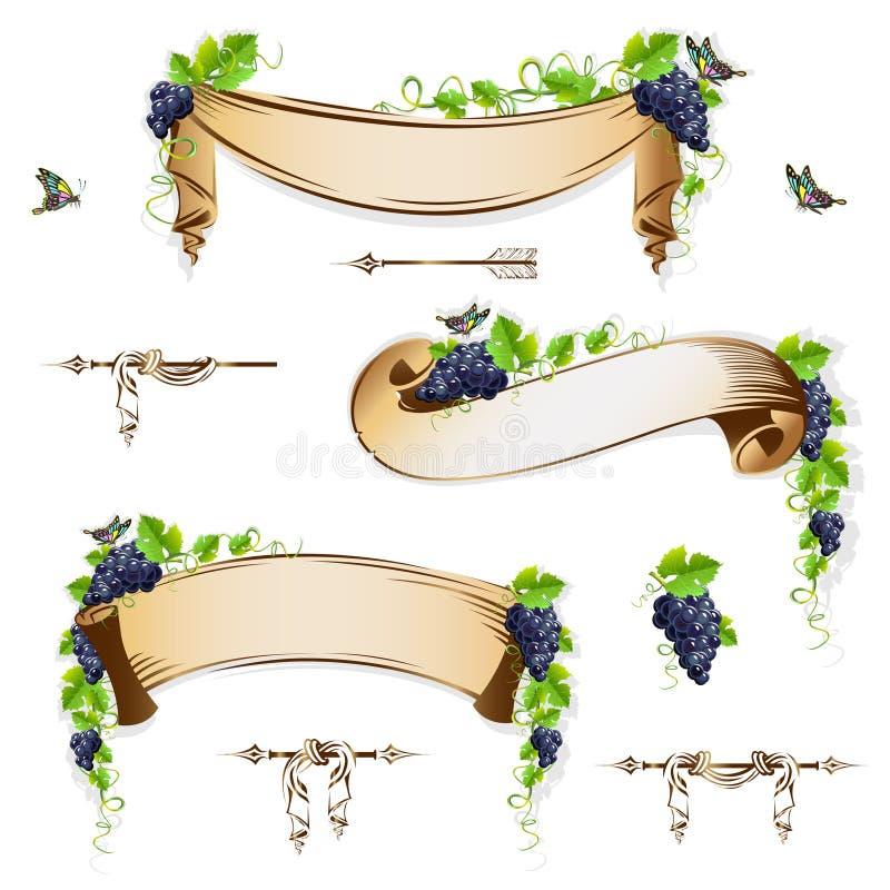 Reeks uitstekende linten met druiven stock illustratie