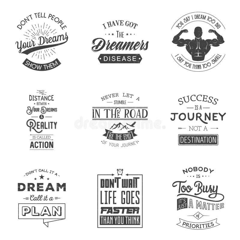 Reeks uitstekende motivatie typografische citaten vector illustratie