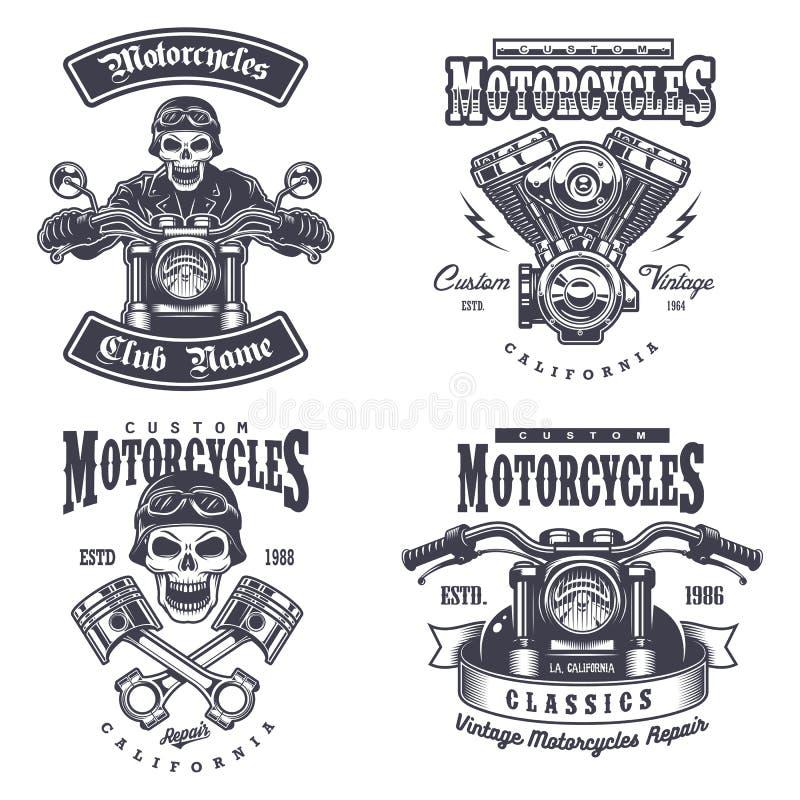 Reeks uitstekende motorfietsemblemen stock illustratie