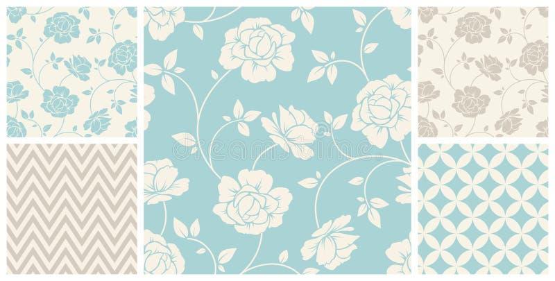 Reeks uitstekende naadloze bloemen en geometrische patronen Vector illustratie vector illustratie