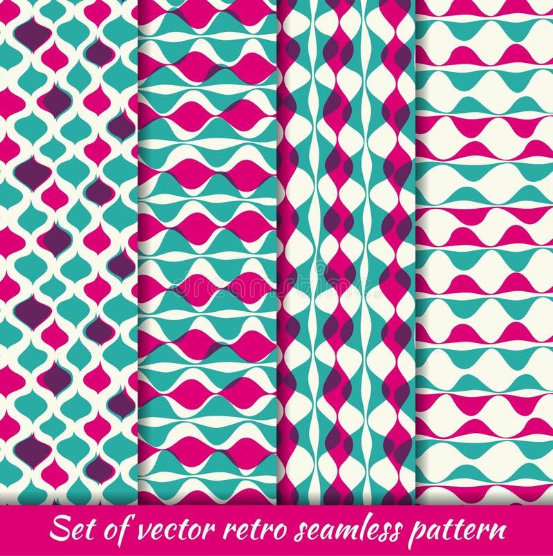 Reeks Uitstekende naadloze patroonhipsters Vector eps10 Illustratie met textuur voor druk, Web vector illustratie