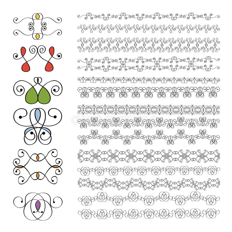 Reeks uitstekende ornamenten stock illustratie