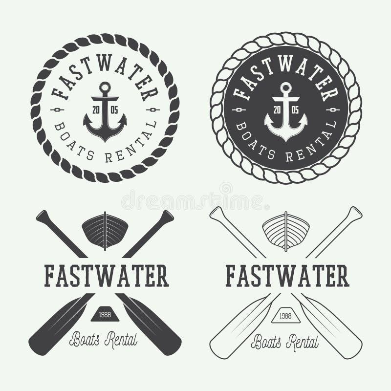 Reeks uitstekende rafting embleem, etiketten en kentekens stock illustratie