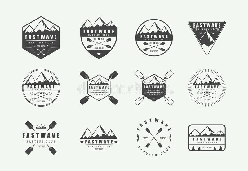 Reeks uitstekende rafting embleem, etiketten en kentekens Grafisch art. vector illustratie