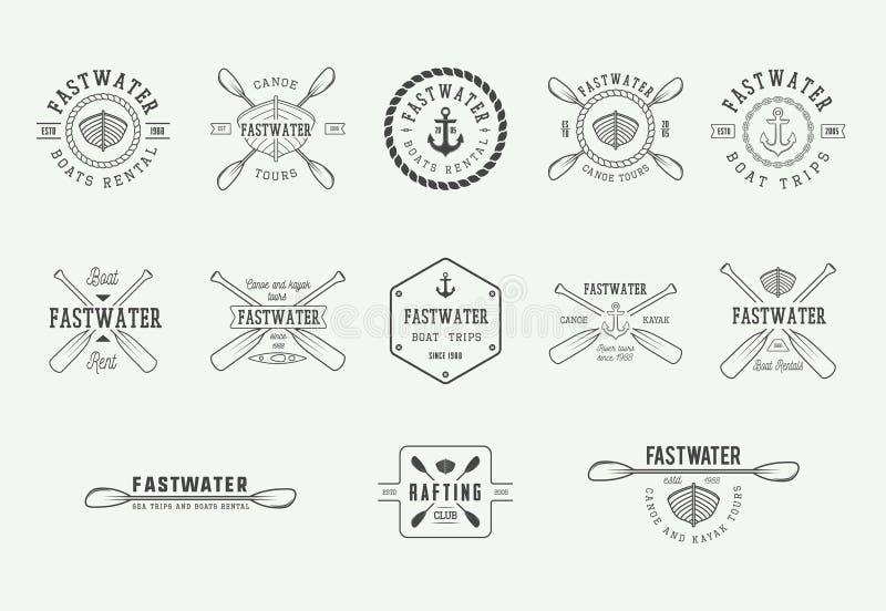 Reeks uitstekende rafting embleem, etiketten en kentekens Grafisch art. stock illustratie