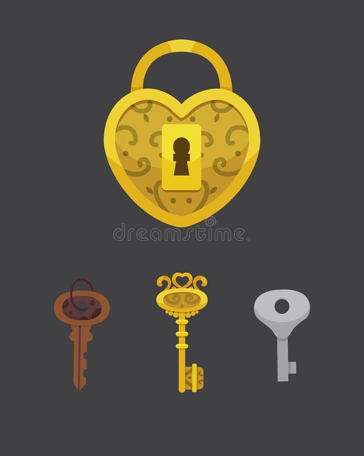 Reeks uitstekende sleutels en sloten Het vectorhangslot van het illustratiebeeldverhaal Geheim, geheimzinnigheid of veilig pictog vector illustratie
