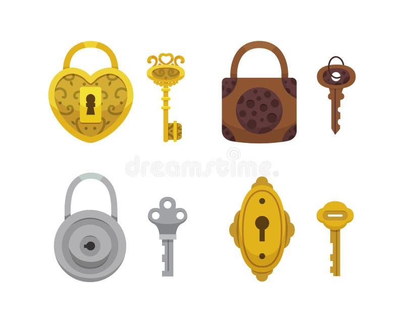 Reeks uitstekende sleutels en sloten Het vectorhangslot van het illustratiebeeldverhaal Geheim, geheimzinnigheid of veilig pictog royalty-vrije illustratie