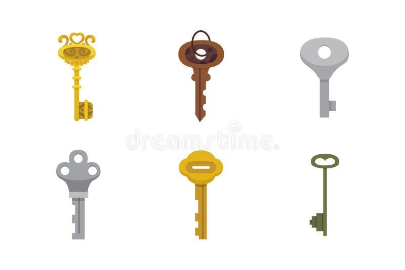 Reeks uitstekende sleutels Het vectorhangslot van het illustratiebeeldverhaal Geheim, geheimzinnigheid of veilig pictogram stock illustratie