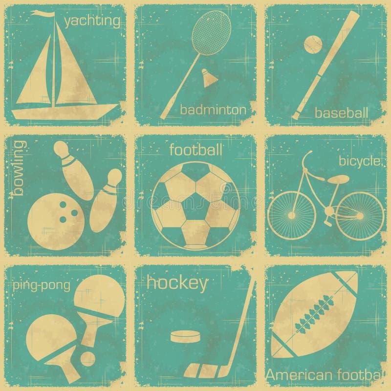 Reeks uitstekende sportetiketten royalty-vrije illustratie