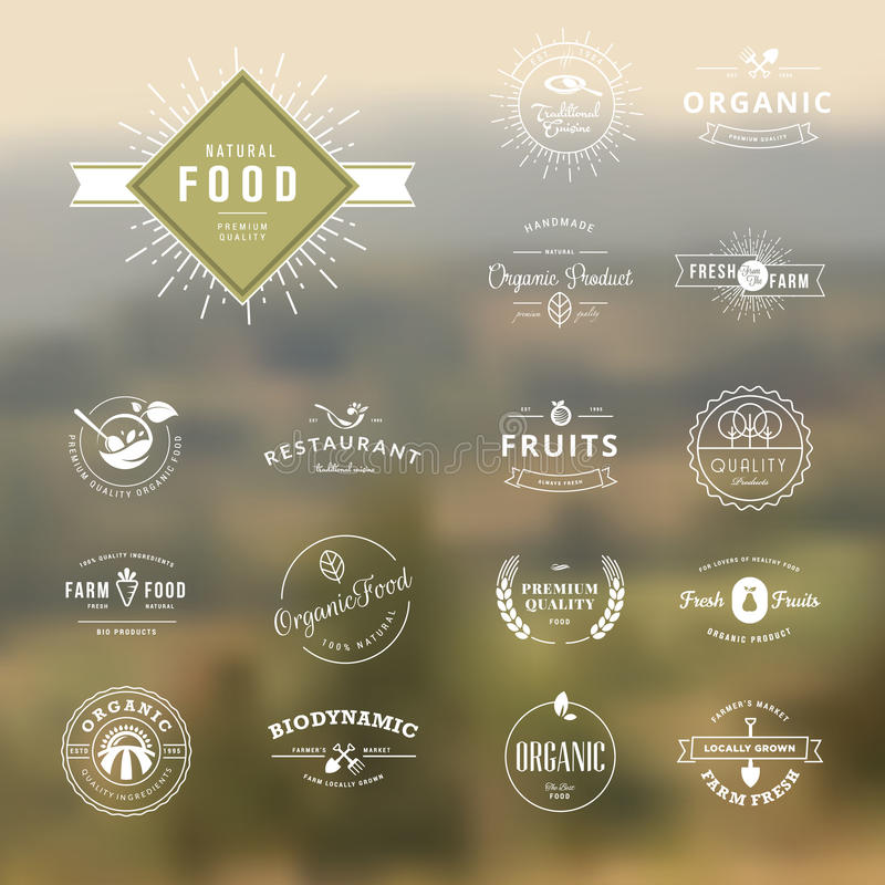 Reeks uitstekende stijlelementen voor etiketten en kentekens voor natuurvoeding en drank royalty-vrije illustratie
