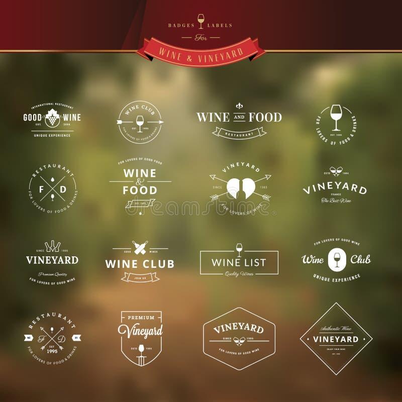 Reeks uitstekende stijlelementen voor etiketten en kentekens voor wijn vector illustratie