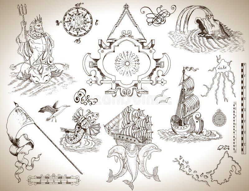 Reeks uitstekende tekeningen met banner, oude schip en overzeese symbolen voor kaarten, kaarten stock illustratie