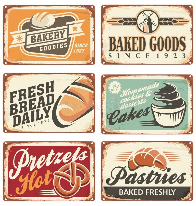 Reeks uitstekende tekens van het bakkerijmetaal stock illustratie