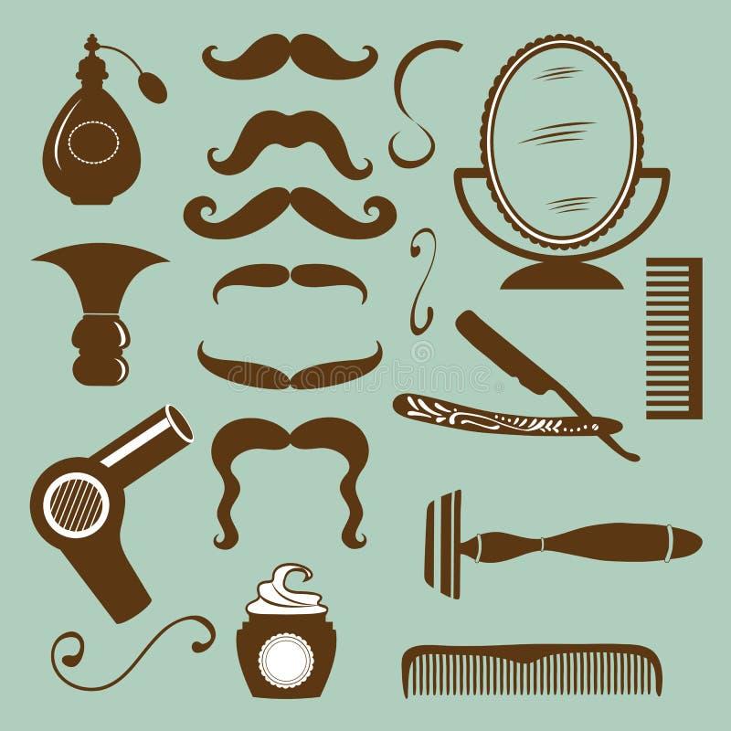 Reeks uitstekende van de kapperswinkel en kapper elementen stock illustratie