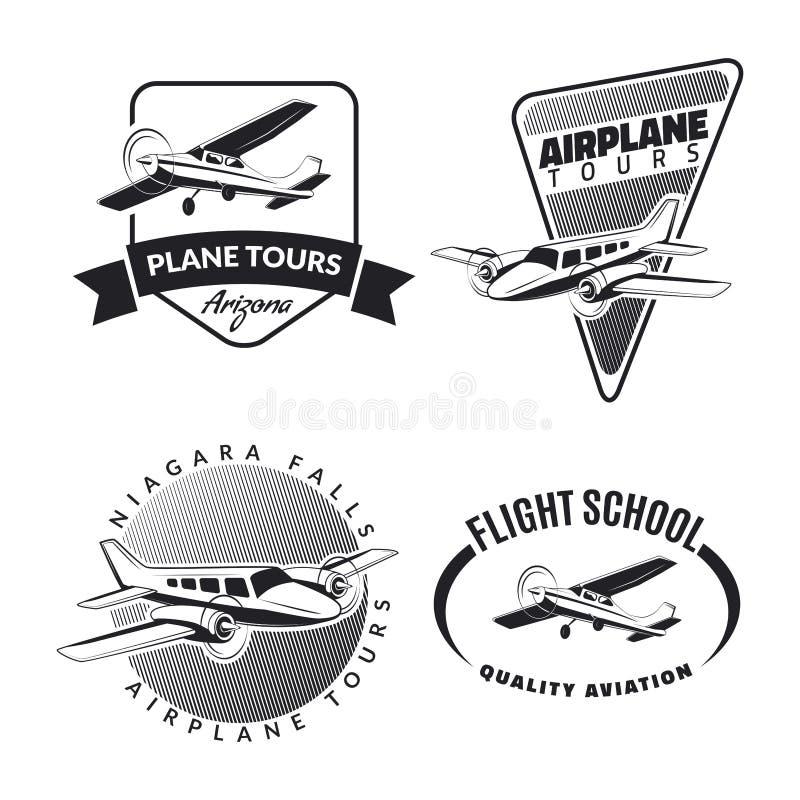 Reeks uitstekende vliegtuigemblemen en pictogrammen royalty-vrije illustratie