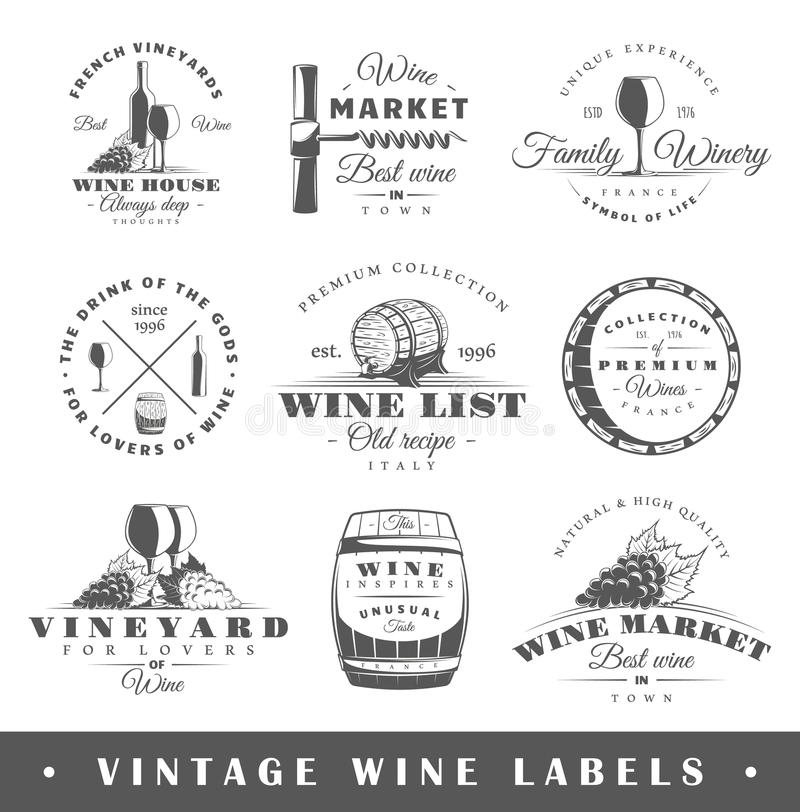 Reeks uitstekende wijnetiketten royalty-vrije illustratie