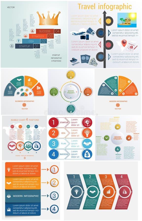 Reeks 10 universele conceptuele cycl van Infographics van malplaatjeselementen royalty-vrije illustratie