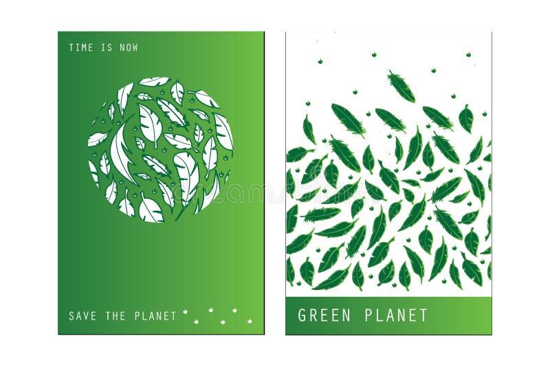 Reeks in universele kaarten die Eco, bio groen embleem, sticker, teken met groene en witte achtergronden kenmerken stock illustratie