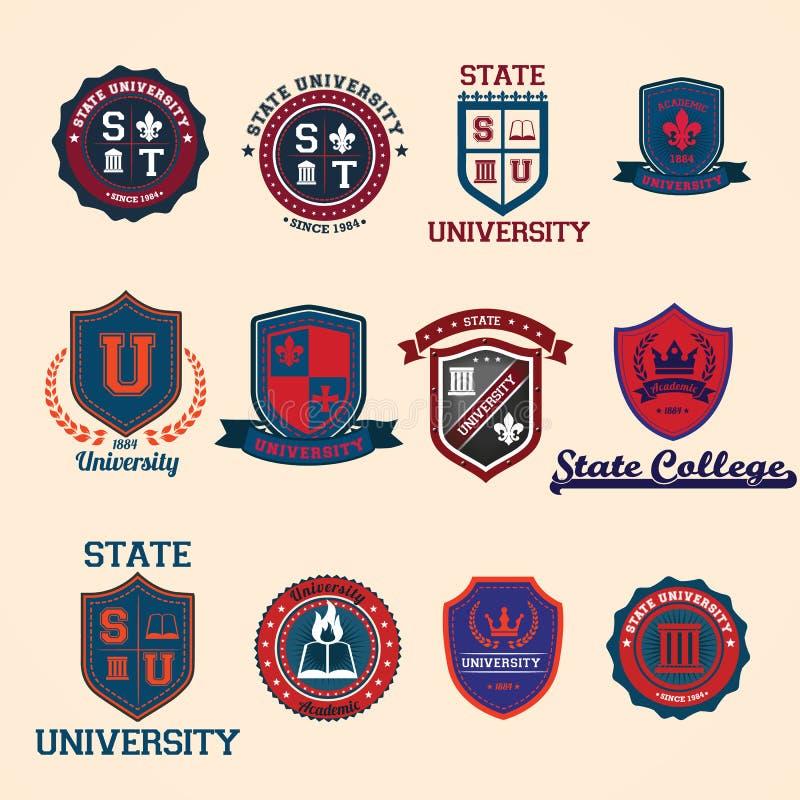 Reeks universiteit en hogeschool schoolkammen en emblemen stock illustratie