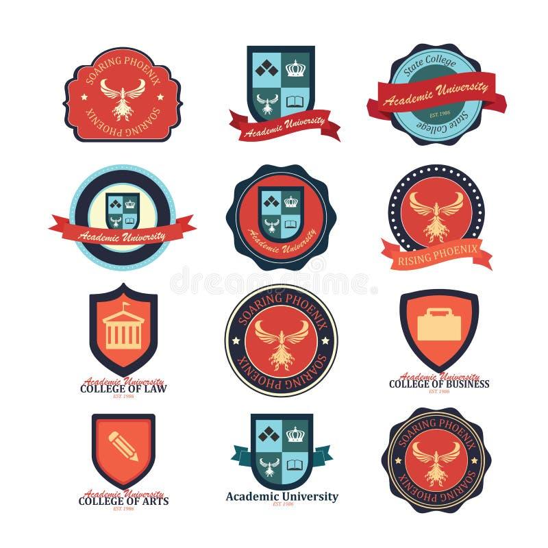 Reeks universiteit en van het van de universiteitsschool en embleem emblemen stock illustratie