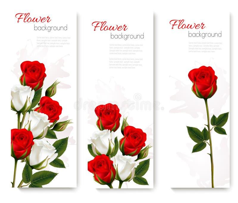 Reeks vakantiebanners met mooie rode en witte bloemen royalty-vrije illustratie