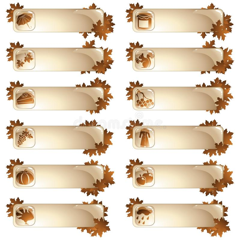 Reeks van 12 herfstetiketten vector illustratie