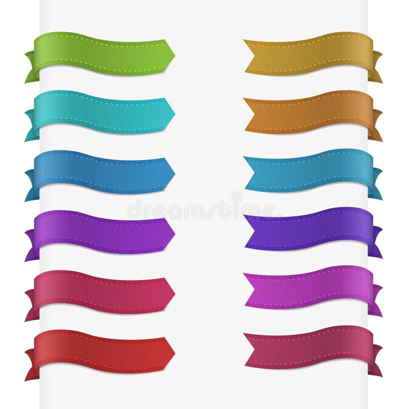 Reeks van 12 kwaliteits geweven linten. vector illustratie