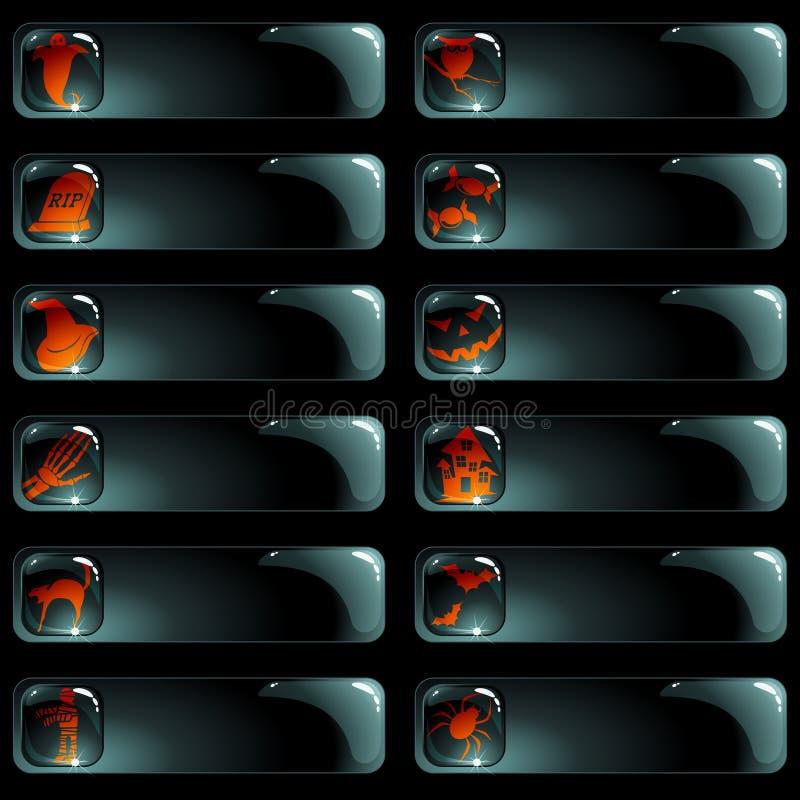 Reeks van 12 zwarte Halloween etiketten stock illustratie